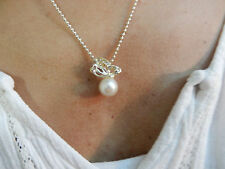 Sets - White Shell Pearls on Silver Plated Butterfly Setting with Silver P Chain