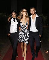 RED CARPET ROBERTO CAVALLI at H&M black&white ZEBRA dress KLEID Gr.42 XL US 12