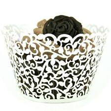 White Laser Cut Cupcake Wrappers Cake Cup Wraps Wedding Birthday Party Supplies