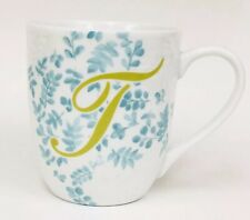 Pier 1 Imports AVA Initial T Monogram Embossed Floral White Blue Coffee Mug Cup