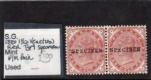 GB QV 1880 11/2d VENETIAN RED SG;167 UMM ` SPECIMEN ` PAIR CAT £200