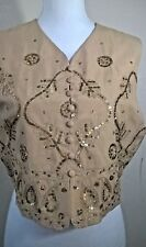 New EMANUEL UNGARO Sleeveless Top Silk Lined Sequins Metallic Thread Paisley 8