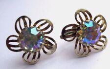 boucles d'oreilles pas de vis ancien bijou vintage fleur cristal borèalis 1672