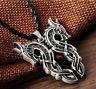 Ancient Viking Norse Big Double Dragon Amulet Talisman Pendant Vintage Necklace