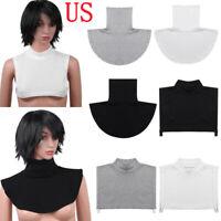 Women Faux Turtleneck Neck Dickey False Mock Blouse Half Top Bib Fake Collar US