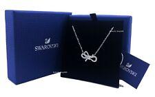 New Authentic SWAROVSKI Rhodium Sparkling Crystal Lifelong Bow Necklace 5440643