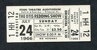Original 1966 Otis Redding Unused Full Concert Ticket Pittsburg Dock Of The Bay