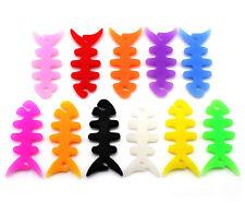 NEW 10 Pcs Soft Silicone Fish Bone Earphone Organizer Bobbin Winder Wrap