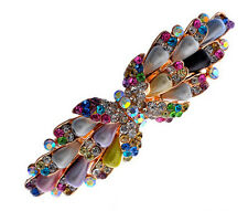 Colourful Rainbow Pearls & Rhinestones Butterfly Hair Barrette Accessories HA136