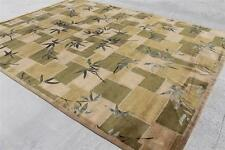 RST402 Gorgeous Modern Wool & Silk Green Tibetan Rug 9' x 12' Handmade in Nepal