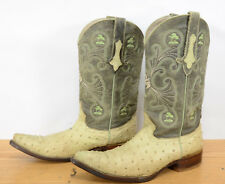 Joe Boots Mens Sz 9 Ostrich Embossed Western Cowboy Riding Leather Boots