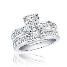 Gia Certified Emerald Cut Wedding Set Ring 3 70 Carat 18k Gold
