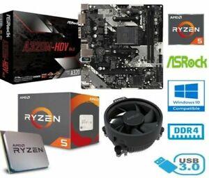 AMD RYZEN 5 2600 BUNDLE - 6 CORE - ASROCK A320M-HDV MOTHERBOARD 4