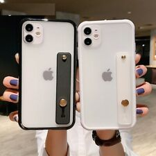 Clear Phone Case Shockproof Bumper Wrist Strap Stand Back Cover For iPhone