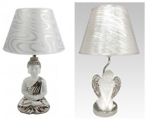 Elegant White And Chrome Meditating Buddha or Angel Table Lamp with Shade