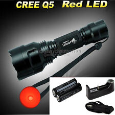 CREE Q5 C8 LED Flashlight Torch Red Light+ 2x 18650 Battery+ 26650 16340 Charger