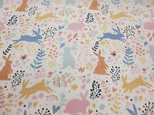 "Cute ""Woodland Bunny"", Bunny Rabbit Printed Polycotton Fabric"