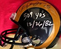 Vince Ferragamo autographed signed Rams mini helmet inscribed 509 YDS dated 1982