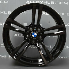 "GENUINE BMW M2 M3 M4 437M SPORT F87 F80 F82 19"" INCH GLOSS BLACK ALLOY WHEELS X4"