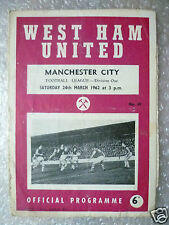 1962 WEST HAM UNITED v MANCHESTER CITY- B Moore,G Hurst played, 24 March