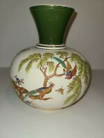 Antique Crown Albion Pottery Handpainted Vase Gold Tones Birds Butterfly