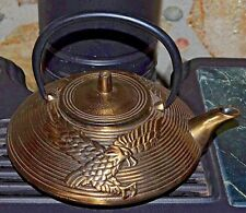 Japanese Golden Eagle Teapot Cast Iron Bronze Tea Kettle W/ Stainless Strainer