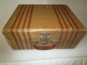 """Vintage 16"""" Tweed Stripe Brown & Tan Travel Suitcase 1930's"""