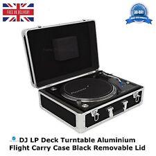 DJ LP Deck Turntable Aluminium Storage Flight Carry Case Black Removable Lid HQ