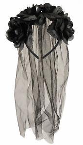Black Flower Headband With Veil Wedding Halloween Fancy Dress Costume Accessory