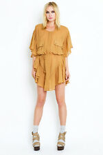 SHAKUHACHI Camel Rayon Crepe Day Tripper Ruffle Trim Boho Gypsy Cape Dress AU10