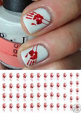 Halloween Bloody Hand Print Nail Art Waterslide Decals - Salon Quality!