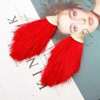 Women Chunky Bohemian Long Tassel Earrings Boho Hook Drop Dangle Fringe Jewelry