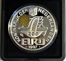 Niederlande 200 Euro 1997 5 Oz Silber + 2g Gold Hologramm PP/Proof, Originaletui