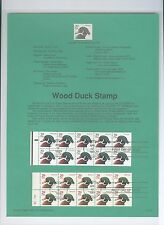 WORTH FRAMING: Wood Ducks Booklet Souvenir Page 1991 USA 2484a & 2485a