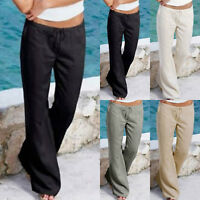Damen Sommer Leinen Breites Bein Hosen Freizeithose Strand Baggy Loose Yoga Hose