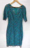 MOSS & SPY amazing Blue Floral Lace 3/4 Sleeve Pencil Midi Dress Size 10