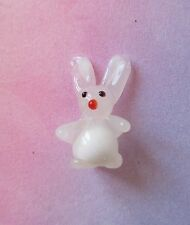 z White Bunny Rabbit Tiny Glass Animal figurine so cute miniature