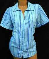 Basic editions blue green short sleeve plus size button down striped top 1X