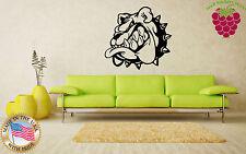 Wall Stickers Vinyl Decal Bulldog Teeth Spikes Collar Animal Portrait EM369