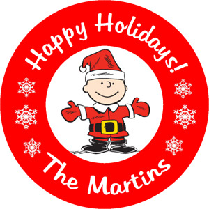 CHARLIE BROWN CHRISTMAS SNOOPY PEANUTS ROUND STICKERS FAVORS LABELS custom E