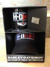 HARLEY DAVIDSON 100TH ANNIVERSARY PARTY PACK COFFEE MUG - HAT - VEST PIN, NEW!