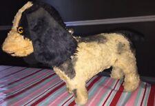 Vintage Black White Dog Cocker Spaniel Mohair Old Antique plush stuffed animal
