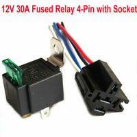 DC12V Relay 4 Pin Con Presa Base/Fili/Fusibile Incluso 30AMP SPST AWG Auto