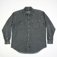 RRL Ralph Lauren Double RL Charcoal Gray Denim Shirt Heritage Workwear Mens XL