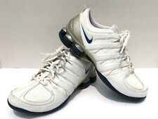 NIKE SHOX Women's Size 7 White All Leather Running Shoes Athletic Sneakers