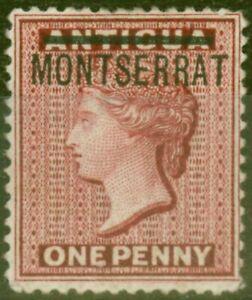 Montserrat 1876 1d Red SG1 Fine Mtd Mint