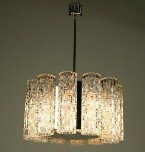 Vintage Doria Glass & Chrome Chandelier Pendant Lamp 1960's Mid Century Modern