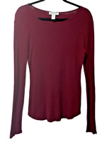 Womens Forever 21 Long Sleeve Pullover Ribbed Shirt Size Large Maroon Base Layer