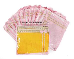 12 PC Oneside Plastique Transparent Vêtements Sari Rangement Housse Sacs Rose