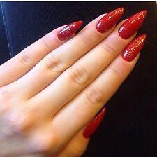 HAND Painted Unghie Finte Rosso STILETTO ORO GLITTER NATALE COPERTURA COMPLETA suggerimenti